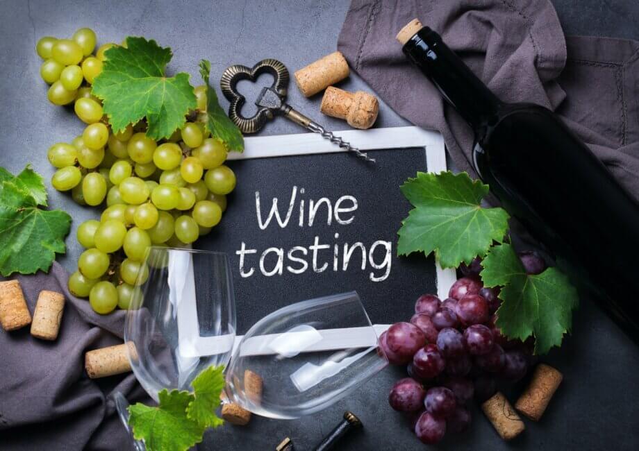 Wine tasting and degustation concept. Grape vine, bottle, glasses, corkscrew